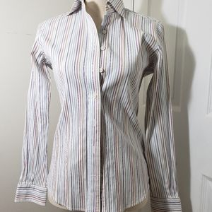 Faconnable white with colored stripes button down